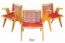 Group of Four Axel Horn Teak and Plastic String Chairs