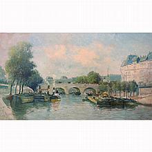 Manner of Eugene Boudin Boats on the Seine