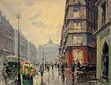 Jean Salabet French, 20th Century (i) Avenue de l'Opera, 1955 (ii) Marche aux Fleurs de la Cite, 1955 (iii) Place de la Madeleine, 195