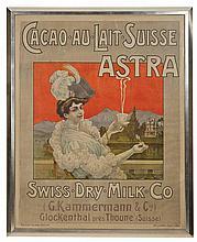 Moullot Fils CACAO AU LAIT SUISSE ASTRA Color lithograph poster