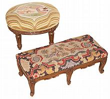 Louis XV Style Walnut Footstool and a Louis XVI Style Walnut Footstool