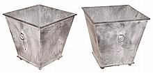 Pair of Zinc Square Planters   Height 23 1/2 inches, 23 1/2 inches square.