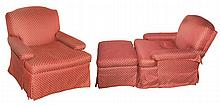 Pair of Charles of London Style Upholstered Swivel Club Chairs and an Ottoman en Suite