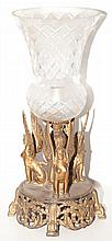 Egyptian Revival Style Gilt-Metal and Glass Lamp