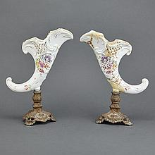 Pair of Continental Porcelain and Brass Cornucopia-Form Vases