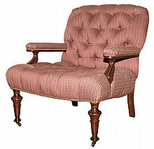 Button Tufted Upholstered Library Chair
