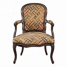 Louis XV Stained Beechwood Fauteuil en Cabriolet; Together with a Later Similar Chair