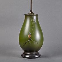 Japanese Green Patinated-Bronze Lamp