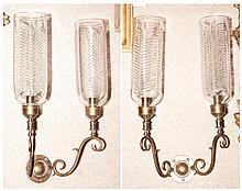 Pair of Brass and Glass Two-Light Sconces