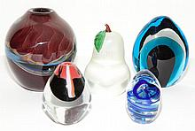 Five Glass Paperweights and Vases