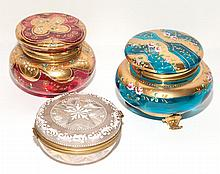 Three Enamel Decorated Glass Covered Boxes