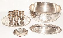 Group of Ten South American Silver Table Articles