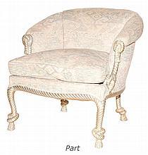 Napoleon III Style Silvered Wood Tub Chairs