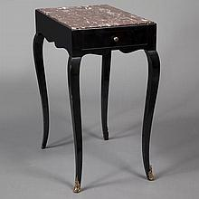 Louis XV Style Marble Top Black Lacquered Table