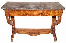 Continental Marble Top Walnut Console