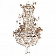Louis XVI Style Gilt-Metal and Glass Five-Light Chandelier