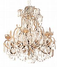 Louis XV Style Gilt-Metal and Cut Glass Six-Light Chandelier
