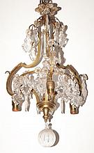 French Style Gilt-Metal and Glass Hanging Light Fixture