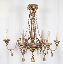 Continental Style Parcel Giltwood Six-Light Chandelier
