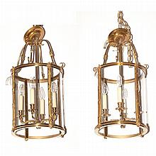 Pair of Neoclassical Style Brass and Glass Four-Light Hanging Lanterns