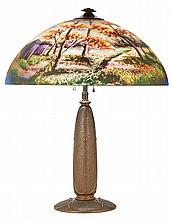 American Reverse Painted Glass and Patinated-Metal Lamp