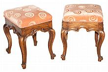 Pair of Continental Style Walnut Stools