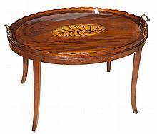 Georgian Style Inlaid Mahogany Tray Top Low Table