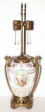 Continental Gilt-Metal Mounted Porcelain Lamp