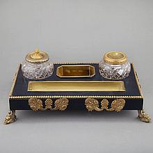 Empire Style Gilt-Metal Mounted Black Painted Inkstand
