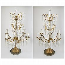 Pair of Transitional Louis XV/XVI Style Gilt-Metal and Molded Glass Six-Light Lamps