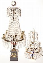 Neoclassical Style Painted Wood, Marble and Glass Four Light Candelabrum; Together with a Marble and Glass Example