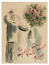 George Grosz German, 1893-1959 Untitled (The Artist Presenting a Bouquet), 1959