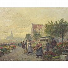 Attributed to Karl Theodor Wagner Flower Market