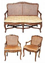 French Style Fruitwood Settee and Two Fauteuils en Suite