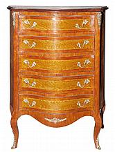 Louis XV Style Inlaid Mahogany Chest of Drawers   Height 38 1/2 inches, width 31 inches, depth 15 1/2 inches.