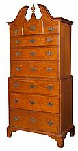 Centennial American Diminutive Scroll-Top Two-Part Chest on Chest   Height 64 1/2 inches, width 28 1/2 inches, depth 17 i...