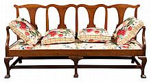 Provincial George III Mahogany Four-Chair Back Settee