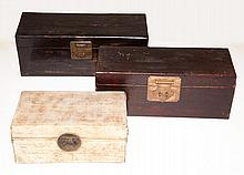 Group of Three Asian Leather Covered Lacquered Boxes