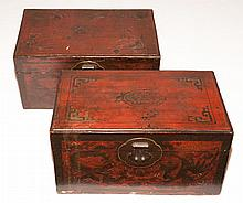 Two Asian Leather Covered Lacquered Boxes   Lengths 15 1/2 inches.