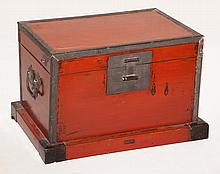 Asian Red Lacquered Wood Box