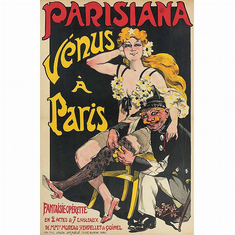 Jack Abeille (b. 1873) PARISIANA, VENUS A PARIS Color lithograph