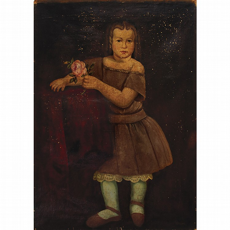 American School 19th/20th Century Young Girl Holding a Rose