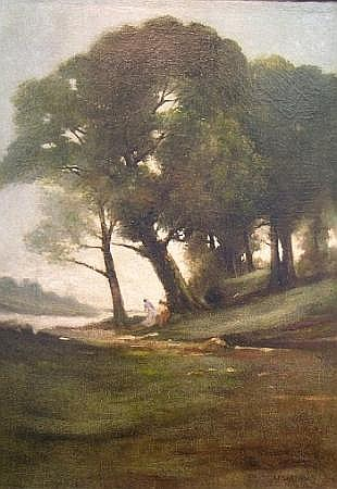 William Sartain American, 1843-1924 Wooded Landscape with Figures by a Stream