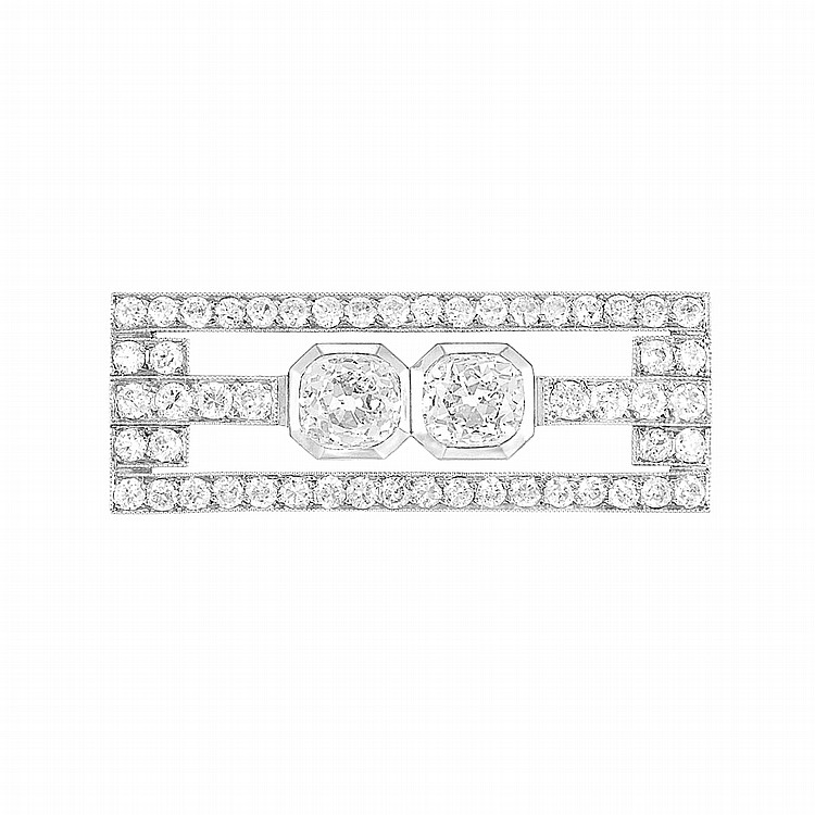 Art Deco Platinum and Diamond Brooch, by Raymond Templier, France