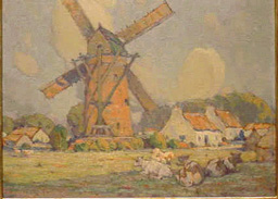 Charles Basing American, 1865 - 1933 COWS RESTING BESIDE A WINDMILL