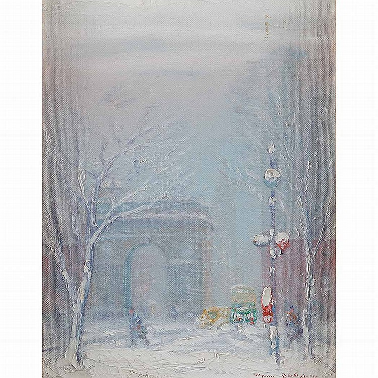Johann Berthelsen American, 1883-1972 Washington Square, New York City   Signed Johann Berthelsen (lr) Oil...