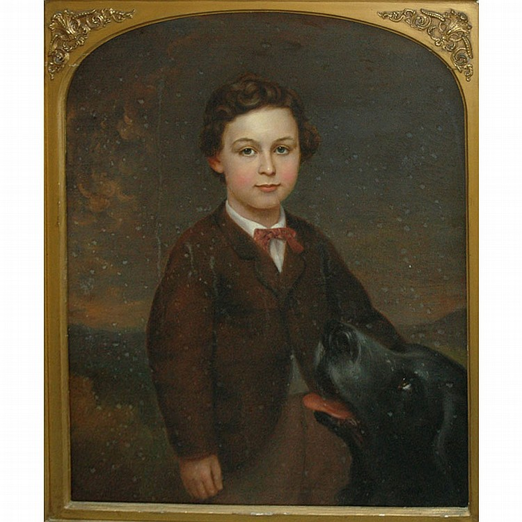 American School 19th Century A Boy and His Dog