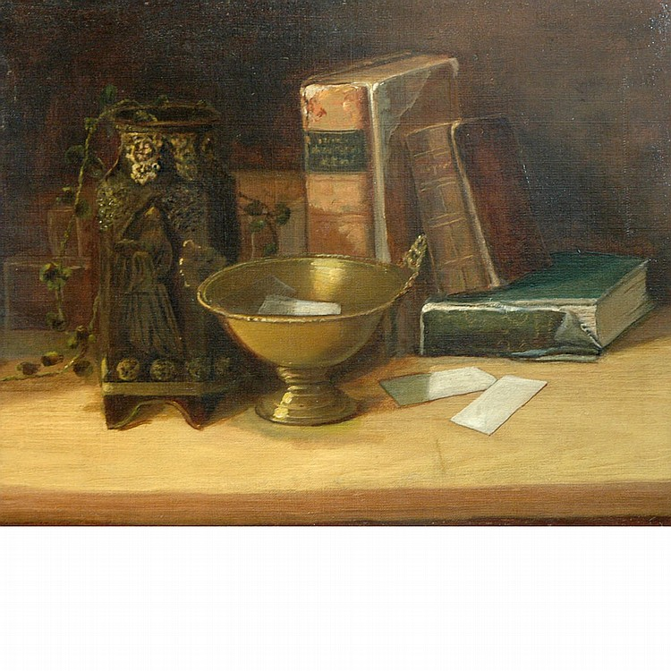 Continental School 19th Century Still Life with Books, Planter and Bowl on a Table
