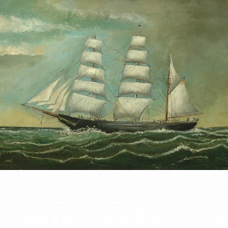 American School 19th/20th Century Naval Ship