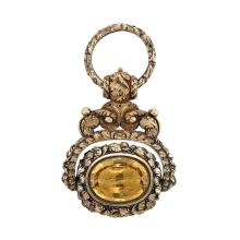 Antique Gold, Variegated Gold, Silver Gilt and Foiled-Back Citrine Watch Fob